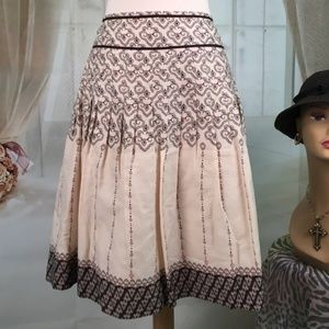 Loft Tan A-line Cotton Pleated Skirt